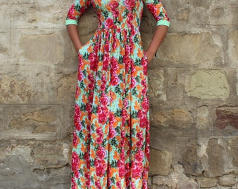 Floral Maxi Dress/ Backless dress/ Long dress/ Elegant dress/ Plus size dress/ Summer dress/ Plus size clothing