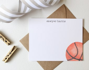 Basketball baby etsy personalized stationery set for boys basketball birthday party basketball thank you cards basketball negle Choice Image