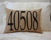 Burlap Pillow - Zip Code Pillow. Customizable For any City
