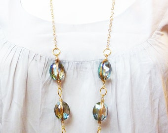 Long Strand Wire Wrapped Turquoise Teal Green Crystal Gold Necklace