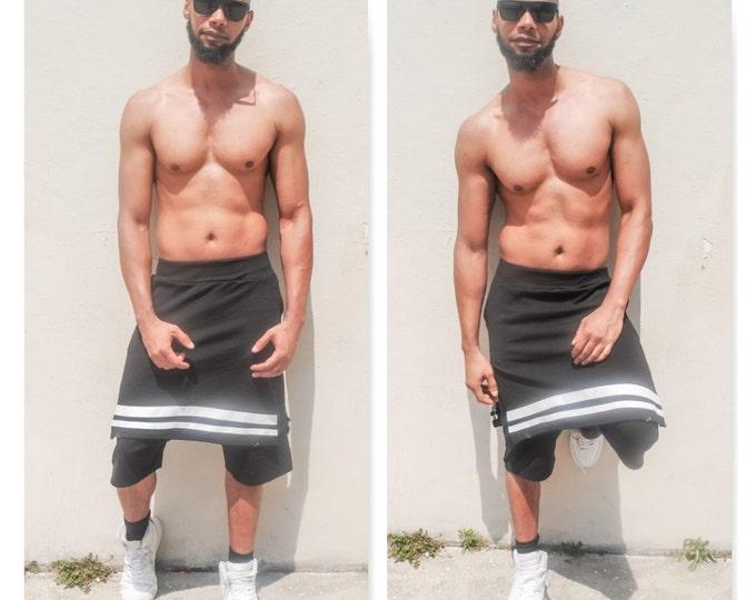 Mens Kilt / Shorts Jogger With Kilt Overlay With sew on stripes On Border Hem