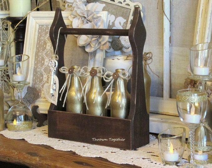 Gold Glitter Bud Vases in Handcrafted Wooden Caddy, Wedding Flower Vases, Rustic Gold Wedding Centerpiece, Hollywood Regency Decor
