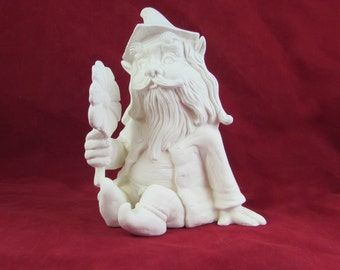 Ready to Ship, Ready to Paint- Ceramic Garden Gnome or Troll sitting and holding a flower, unpainted, 8 inches tall