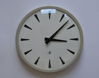 "14"" diameter Vintage German Industrial wall clock from TN. 1970s. Gray Rim. Made in Germany. 1177"