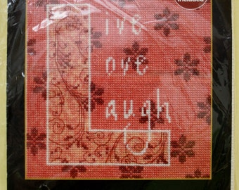 LIVE LOVE LAUGH Bucilla Counted Cross Stitch Kit 6 by 6 Inches