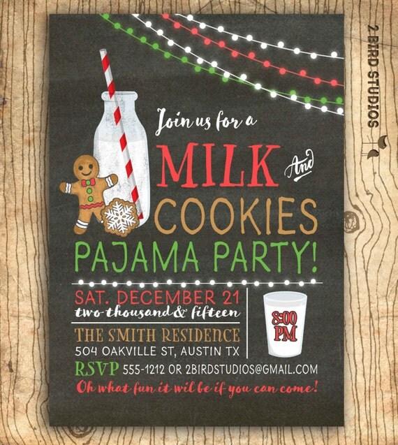 Milk and cookies invitation Christmas cookies exchange