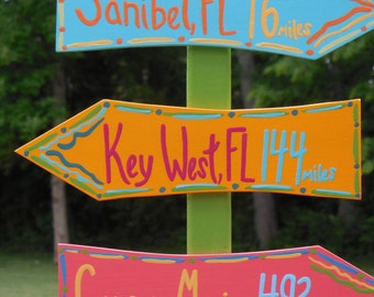 Key West Custom Directional Sign, Mileage Sign