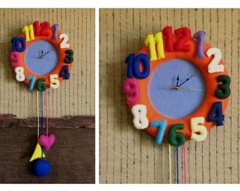 Nursery Wall Clock, Felt Wall Decor, Baby Shower Gift Nursery Art, Newborn Baby, Childs Bedroom Felt Numbered Clock Decor