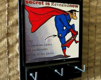 Wall Key Holders, Key Rack, Superman, Comic Cartoon Key Hook, Key Hanger, Housewarming Gift Wall Decor Ear Phone Storage Jewellery Organizer