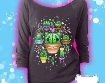 Cactus Kitty Cat 3/4 Sleeve Sweatshirt