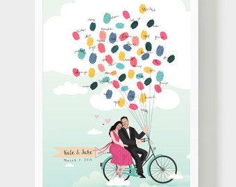 Collage Bride and Groom Guestbook, Bride and Groom on bicycle book, Thumbprint Balloons, Wedding fingerprint, Wedding Customized Gift, PDF