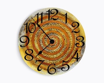 Powder blue wall clock with rust swirl and speckles. Circle design.