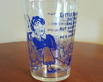 1950's Hazel Atlas Little Boy Blue Nursery Rhyme Glass