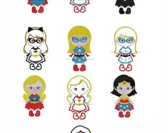 Super Girl Hero Machine Embroidery Design Set