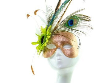 TROPIC - Glitter and Feather Masquerade Mask