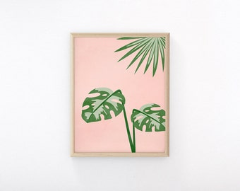 "Printable Art ""Plants On Pink I"", Monstera, Tropical Print, Wall Art Print"