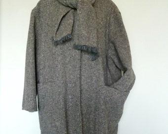 Vintage Junior Look Wool Tweed Oversize Overcoat With Sewn-In Scarf