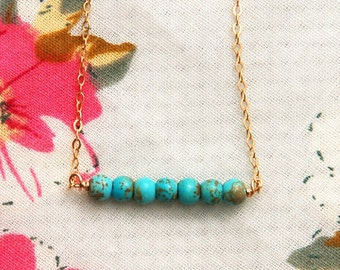Turquoise bar necklace, bridesmaid gift, wedding, bridesmaid necklace, Turquoise necklace, turquoise bar necklace gold