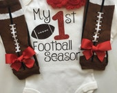 Baby Girl outfit -My 1st Football Season- baby girl outfit - football legwarmers - Newborn Football outfit - Preemie-24 month-RED