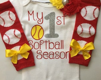 Baby Girl Softball Baseball Outfit- My 1st Baseball Season - baseball outfit - softball outfit - base ball leg warmers - softball baby