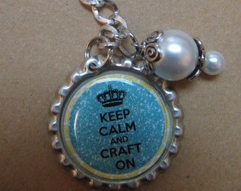 Keep Calm and Craft On Bottle Cap Keychain