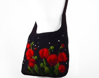 Felted Bag Poppy Handbag Felted wool Nunofelt Purse Poppy purse wild Felt Nunofelt Nuno felt Silk fairy fantasy shoulder bag Fiber Art boho