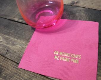 On Wednesday We Drink Pink Cocktail/Beverage Napkins