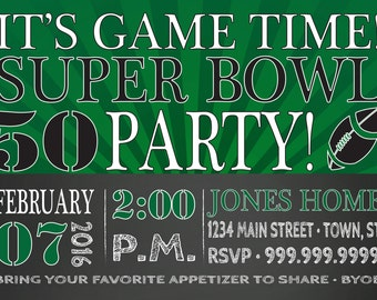SALE SUPER BOWL 50 Party invitation Football Party Super Bowl invite