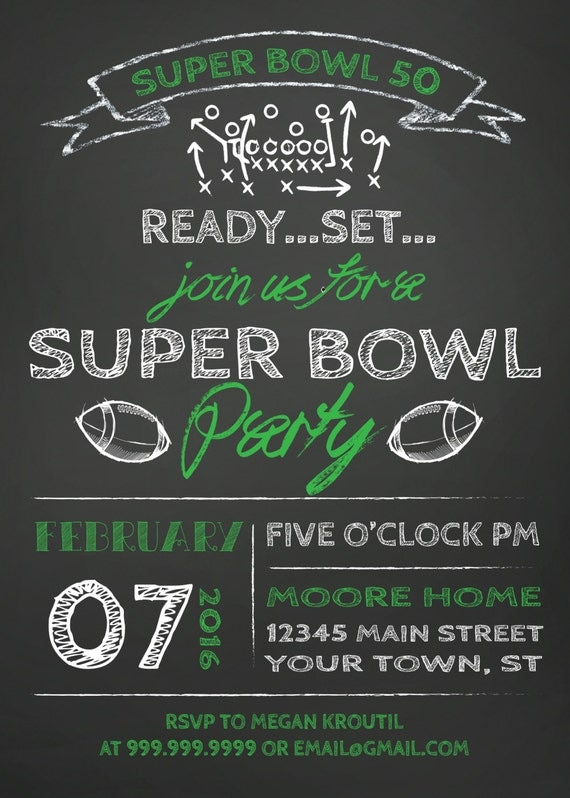 Super Bowl 50 Printable Football Party Invitations ...