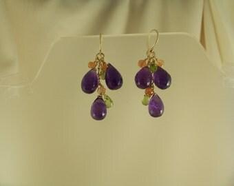 Amethyst sunstone peridot earrings 14k gold filled item 874