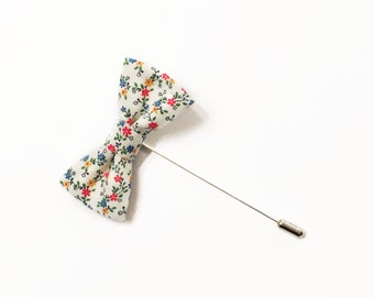 White Floral Bow Tie Lapel Pin