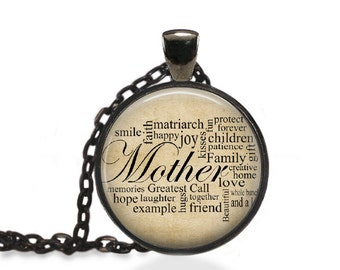 Mothers Day Jewelry, Gifts for Mom Pendant, Words of Motherly Strength Necklace [B52]
