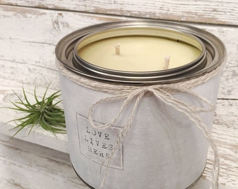 SOY CANDLE - SCENTED - All Natural Candle Hand Poured in Tin - Cotton Wick - Wrapped In Our Canvas Art - Love Lives Here