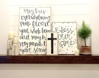 Mini cross black and white rustic wood sign