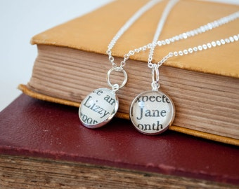 Pride and Prejudice Sister Necklace Set, Jane Austen Big Sister and Little Sister Necklaces, Lizzy and Jane Sister Jewelry