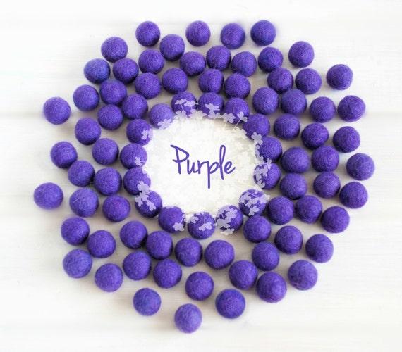 Wool Felt Balls - Size, Approx. 2CM - (18 - 20mm) - 25 Felt Balls Pack - Color Purple-3070 - Felt Balls - Felt Pom Poms - Purple Felt Ball