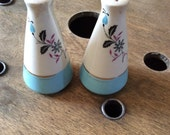 Vintage Salt and Pepper Shakers - 1960's Dining Room Decor - Floral Serving Set
