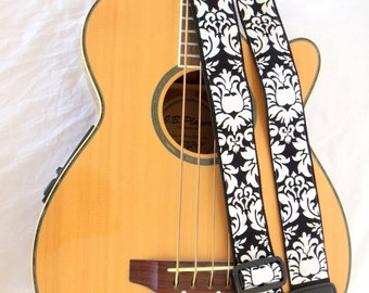Damask Black and White Guitar Strap