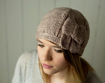 cloche style gatsby 20's hand knit hat adult size