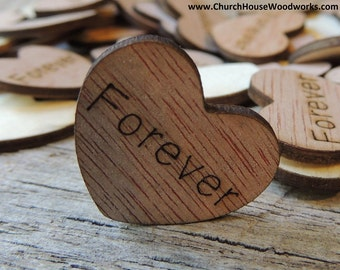 """100 Forever 1"""" Wood Hearts, Wood Confetti Engraved Love Hearts- Rustic Wedding Decor- Table Decorations- Small Wooden Hearts"""
