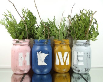 Minnesota Home, State Pride, Custom Mason Jars, Home Decor Rustic, Mason Jar Centerpiece, Cute Home Decor, Gifts under 50