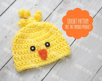 CROCHET PATTERN - Crochet chick hat, newborn chick hat, easter photo prop pattern, baby pattern, chick hat pattern, photo prop pattern