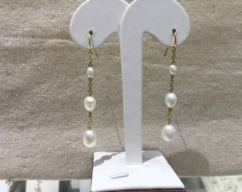 Long Dangle pearl earrings/ 3 pearl earrings/ Bridal pearl earrings/ Valentine's Gift Idea for her