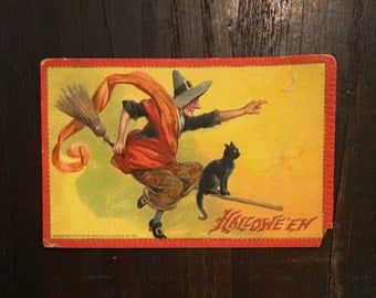 SALE reg 55.00 - Tuck Halloween Antique Postcard, c 1910, Colorful Witch on Broom, Black Cat, Raphael Tuck & Sons, Vintage Postcard