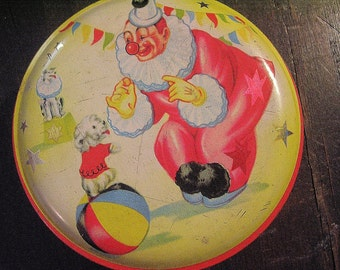 Small Circus Tin, Vintage Tin Box, Horner, Red Clown, Yellow Stars, Puppy Dog, Vintage Candy Tin, Small Round Box