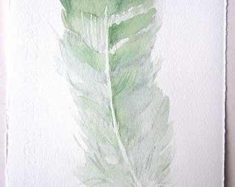 Minty feather's painting original/ Watercolor illustration/ Small watercolors7,5x11/ Feather drawing/ Green feather/ Home and living/