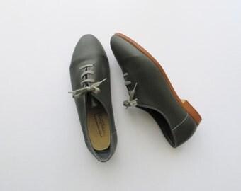 90s Brandeau Oxfords Grey Genuine Leather Tie Shoes Women's US Size 7