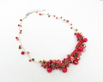 Red coral stone necklace with crystal on gold silk thread, red, metallic brown, gold, short necklace