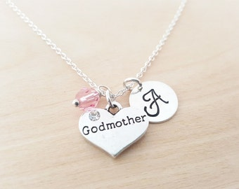 Godmother Necklace - Sterling Silver Necklace -  Initial Necklace - Personalized Jewelry - Birthstone Necklace - Gift for Her