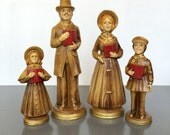 RESERVED vintage paper mache Christmas Carolers holiday decor set of 4